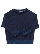 Indigo Urake Cotton Puff Sleeve Sweat Shirt in indigo