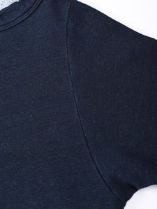 Indigo Urake Cotton Puff Sleeve Sweat Shirt