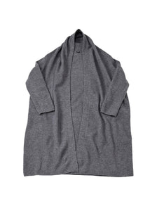 Float Boiled Wool Tyrolean Long Cardigan in grey