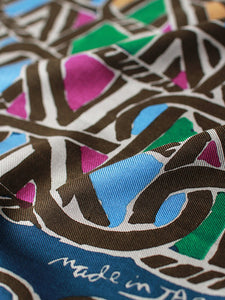 Silk Eight Lattice Crest Print Bandanna