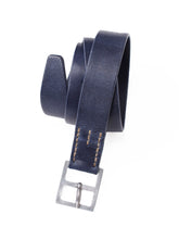 Mauro Vintage Leather Belt in navy