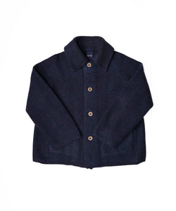 Boiled Wool Knit Solid Color Coverall in navy