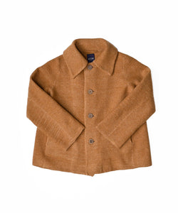 Boiled Wool Knit Solid Color Coverall in camel