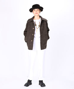 Boiled Wool Knit Solid Color Coverall
