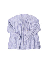 Indigo Yarn Dyed Indian Khadi Cotton Kushu Kushu Gather Blouse in check
