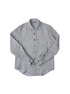 Indigo Double Woven Cotton 908 Regular Shirt in indigo mini gingham check