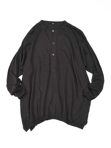 Super Gauze Henley in Brown