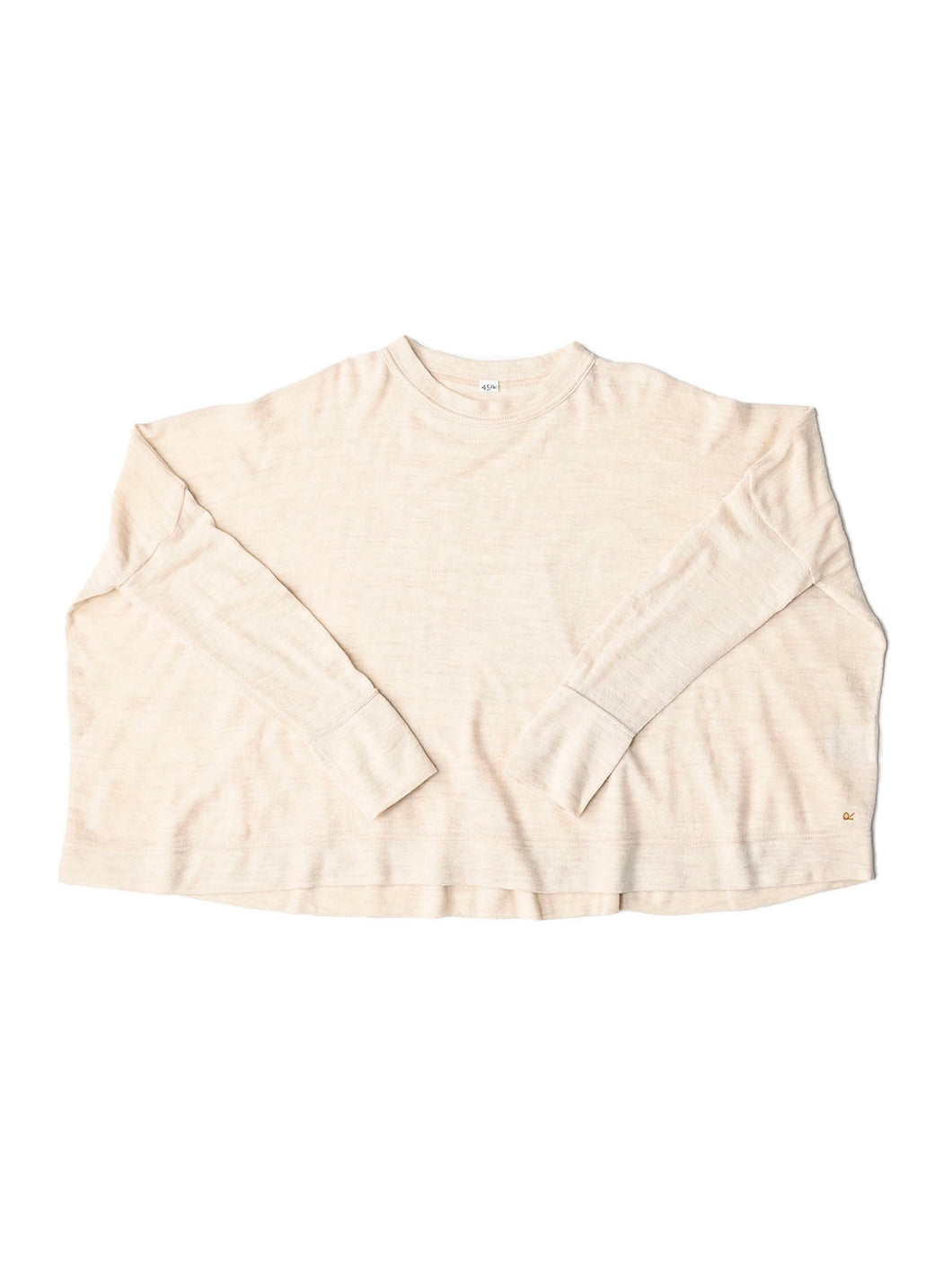 Camellia Wool Knit Sew Big T-shirt Sweater in beige