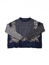 Float Wool Knit & Sew Bandana Sweater in navy