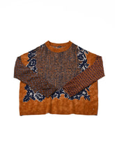 Float Wool Knit & Sew Bandana Sweater in golden brown