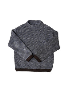 Cotton Shetland Wool 908 Unisex Sweater in navy
