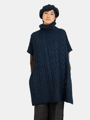 Hand Knit Cable Poncho