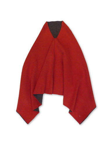 Float Flannel Cleric Poncho in Red and Mocha