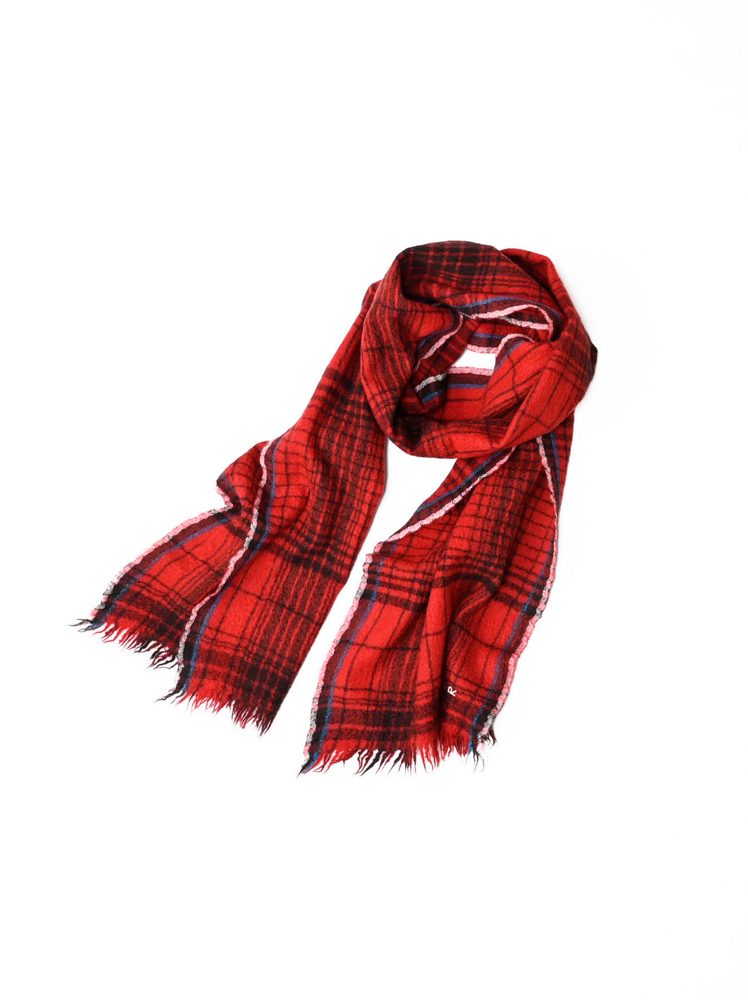 Indian Merino Wool Cashmere Big Tartan Muffler in red