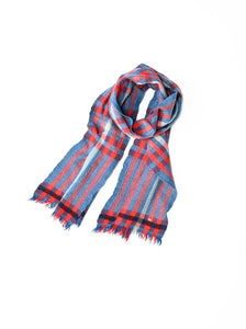 Indian Merino Wool Cashmere Big Tartan Muffler in blue