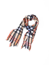 Indian Merino Wool Cashmere Big Tartan Muffler in brown