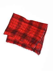 Indian Merino Wool Cashmere Big Tartan Stole in red