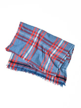 Indian Merino Wool Cashmere Big Tartan Stole in blue