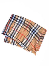 Indian Merino Wool Cashmere Big Tartan Stole in brown