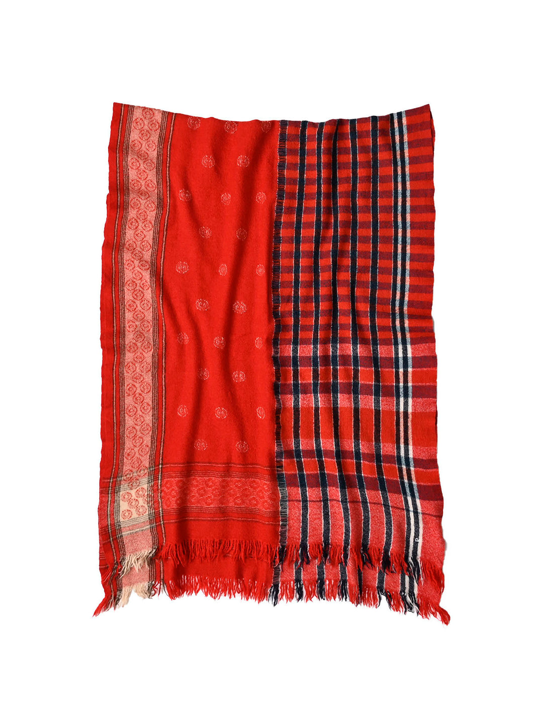 Bandana Jamdani Wool x Check Stole in red