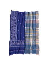 Bandana Jamdani Wool x Check Stole in blue