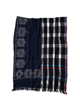 Bandana Jamdani Wool x Check Stole in black