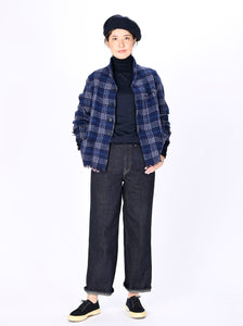 Indian Merino Boiled Wool Check Jacket