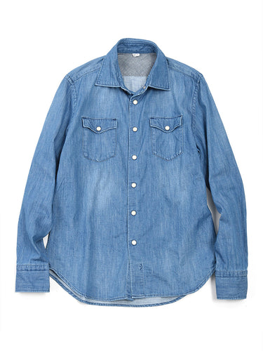 Goma Denim 908 Eastern Shirt in Distressed Indigo