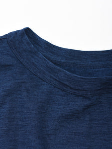 Women's Indigo Cotton Square Long Sleeve T-shirt