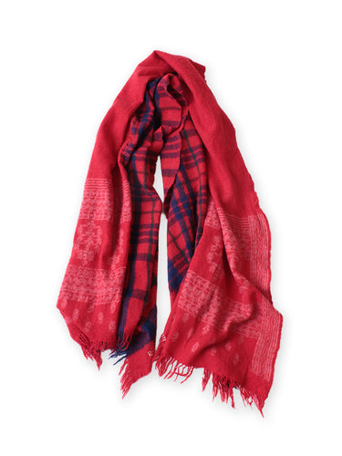 Wool Cashmere Check & Jamdani Stole in Red Check