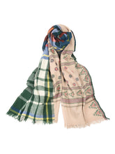 Wool Cashmere Check & Jamdani Stole in Green Check