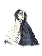 Wool Cashmere Check & Jamdani Stole Glen Check