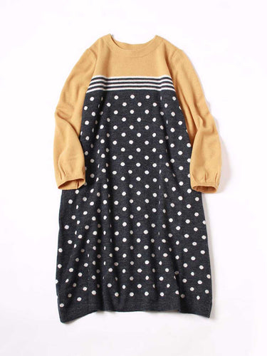 Yorimoku Knit Dot Print Dress