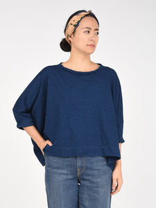 Indigo Cotton 3/4 Sleeve  Big T-Shirt