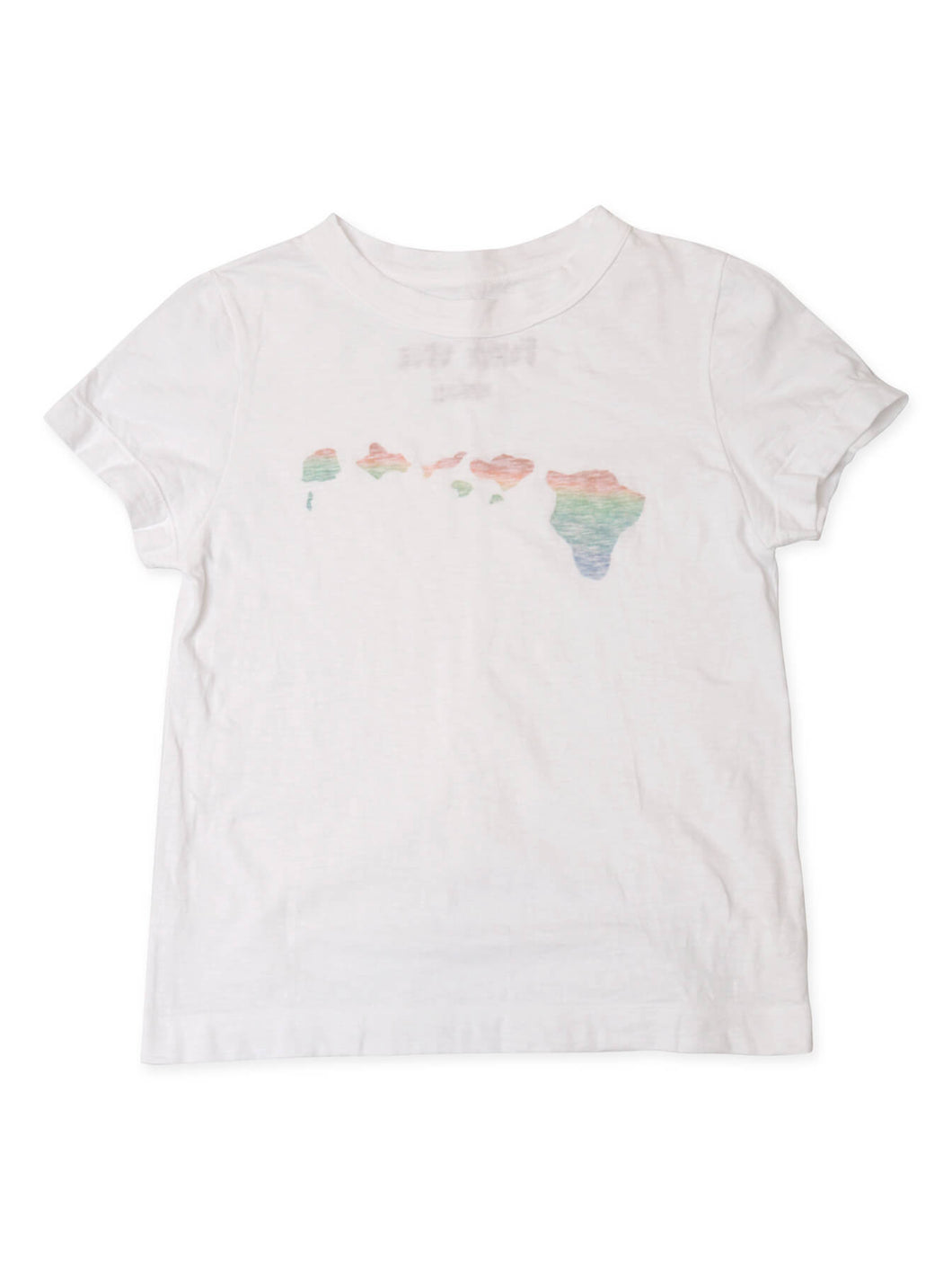 Hawaii Island Logo Cotton T-shirt Rainbow in white