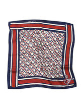Tri-Color R Silk Bandanna in Navy Red