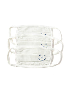 Smile Mask (3 Piece Set of White Pique) in white