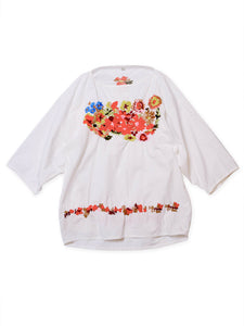 Damp Cotton Flower Embroidered Yakko Shirt in white