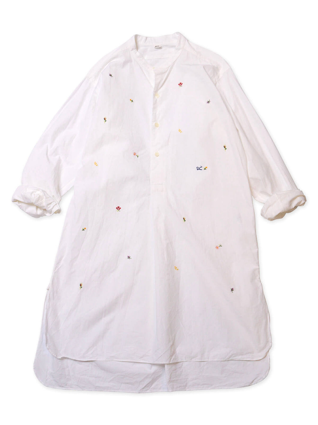 Damp Cotton Small Flower Embroidered Goo-Goo Shirt in white