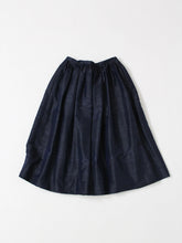 Silk Shantung Vintage Skirt in Navy