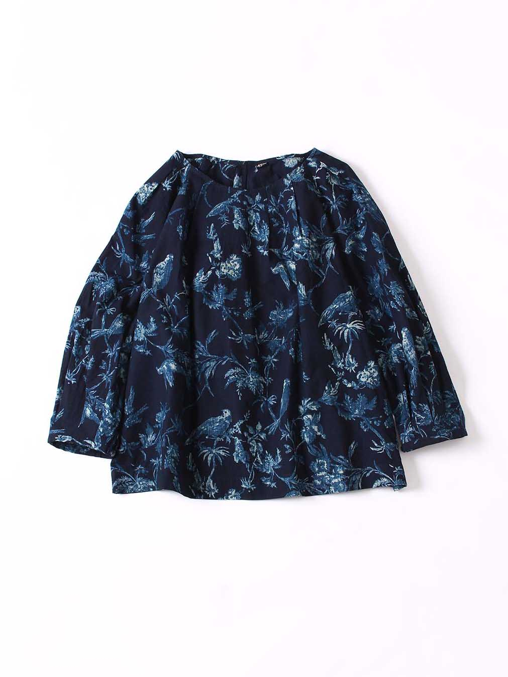 Indigo Tapet Flower Discharge Blouse