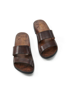 Double Strap Worker Sandals in Brown