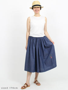 Indigo Hakeme Flower Embroidery Skirt