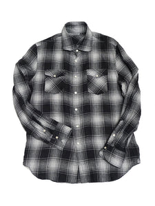 Linen Buffalo Check 908 Eastern Shirt in Black