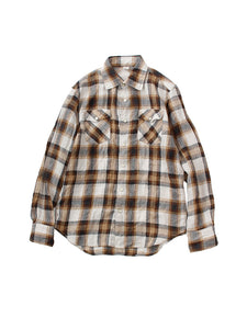 Linen Buffalo Check 908 Eastern Shirt in Beige