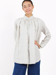 Yarn Dye Double Cloth Gather Shirt