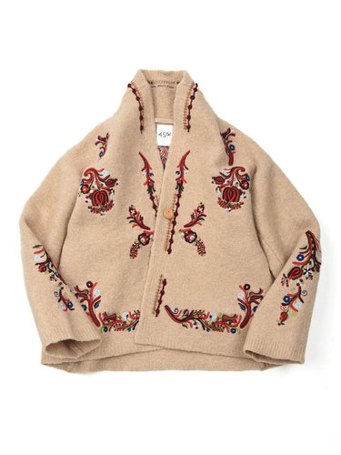 Boiled Knit Embroidered Jacket in Beige