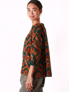 Light Mole Flower Herringbone Print Blouse