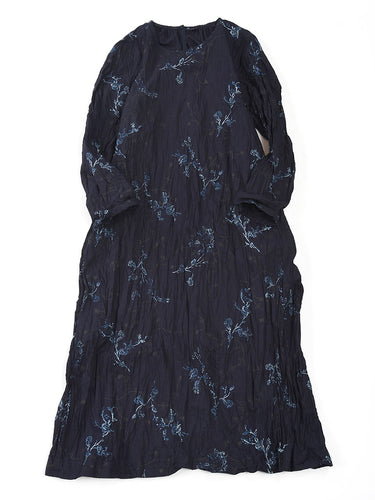 Haru Machi Print Frill Dress in Indigo