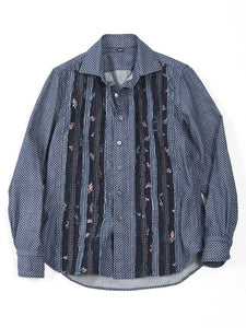 Goma Denim Print Mix Frill Shirt in Indigo Mix